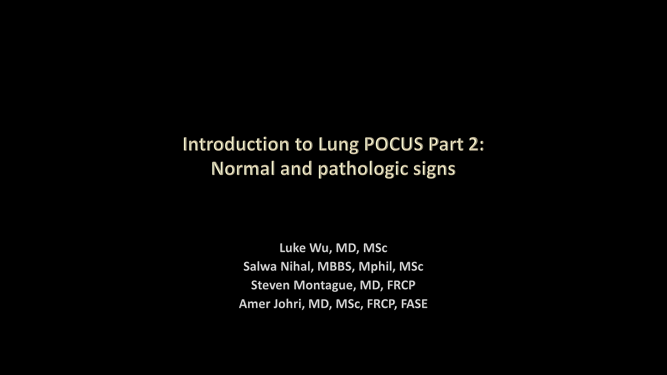 LUS Part 2 - Normal and pathologic findings