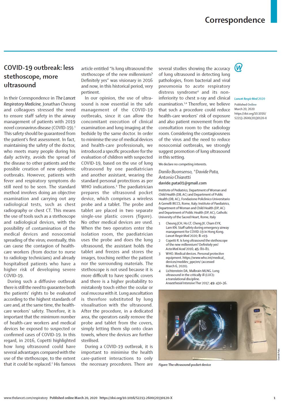 The Lancet - COVID-19 outbreak: less stethoscope, more ultrasound